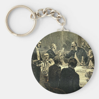 Men Drinking at the Club Vintage Illustration Key Chains