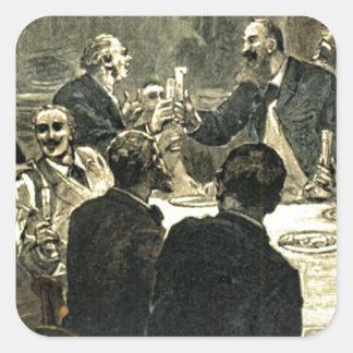Men Drinking at the Club Vintage Illustration Square Sticker