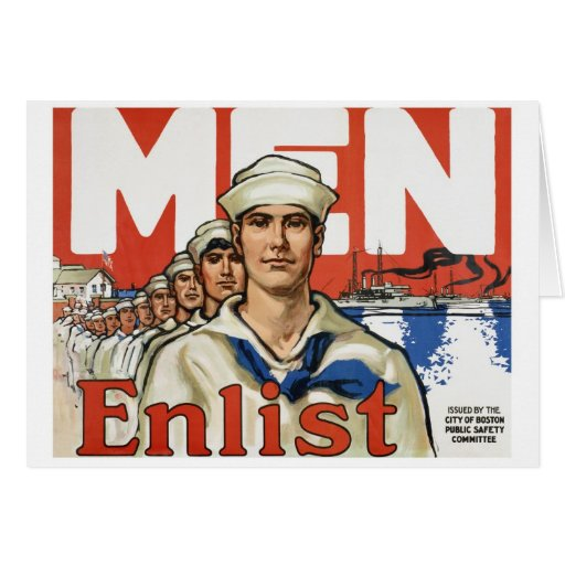 Men enlist card
