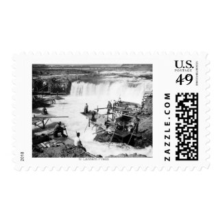 Men fishing at Celilo Falls Photograph Postage Stamps