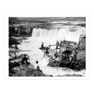 Men fishing at Celilo Falls Photograph Postcard