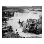 Men fishing at Celilo Falls Photograph Poster