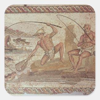 Men fishing on the Nile Square Sticker