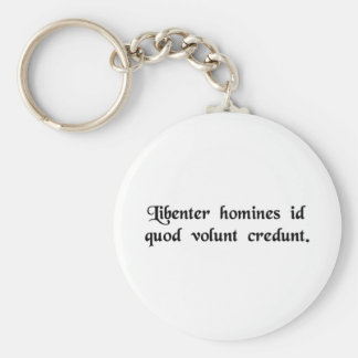 Men gladly believe that which they wish for. keychain