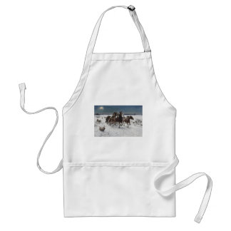 Men Hunting Wolves in Snow Adult Apron