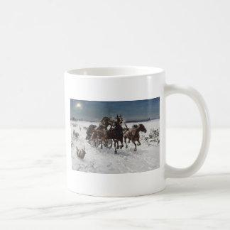 Men Hunting Wolves in Snow Coffee Mug