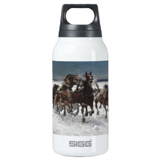 Men Hunting Wolves in Snow Thermos Bottle