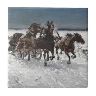 Men Hunting Wolves in Snow Tile