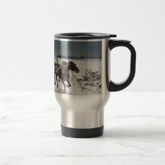 Men Hunting Wolves in Snow Travel Mug