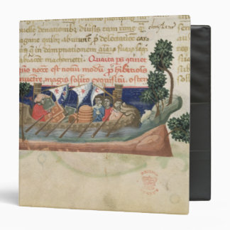 Men in a boat taking supplies to the Holy Land Binder