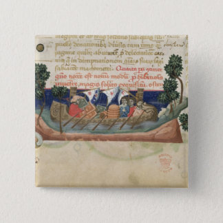 Men in a boat taking supplies to the Holy Land Button