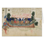 Men in a boat taking supplies to the Holy Land Card