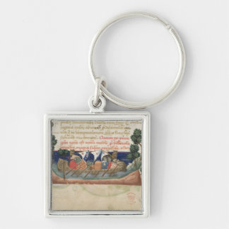 Men in a boat taking supplies to the Holy Land Keychain