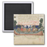 Men in a boat taking supplies to the Holy Land Refrigerator Magnet