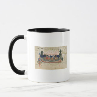 Men in a boat taking supplies to the Holy Land Mug