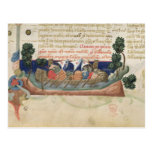 Men in a boat taking supplies to the Holy Land Postcard