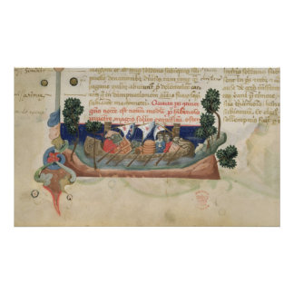Men in a boat taking supplies to the Holy Land Poster