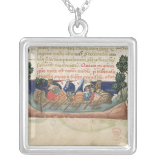 Men in a boat taking supplies to the Holy Land Silver Plated Necklace
