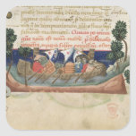 Men in a boat taking supplies to the Holy Land Square Sticker