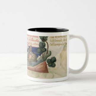 Men in a boat taking supplies to the Holy Land Two-Tone Coffee Mug