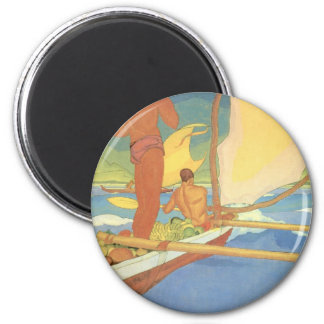 'Men in an Outrigger Canoe Headed for Shore' 2 Inch Round Magnet