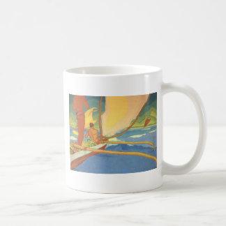 Men in an Outrigger Canoe Headed for Shore Coffee Mug