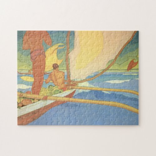 &#39&#x3B;Men in an Outrigger Canoe Headed for Shore&#39&#x3B; Jigsaw Puzzle