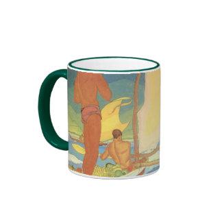 'Men in an Outrigger Canoe Headed for Shore' - Mug
