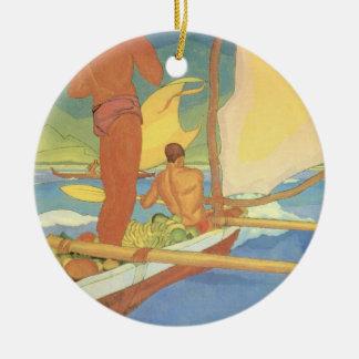 Men in an Outrigger Canoe - Ornament