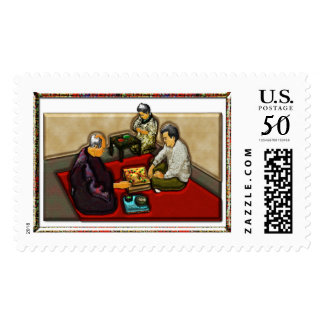 Men in Asian Restaurant Postage Stamp