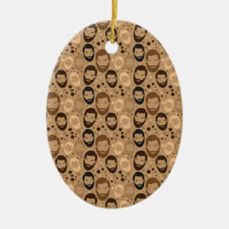 Men in Beards pattern Double-Sided Oval Ceramic Christmas Ornament