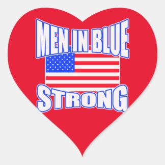 Men in blue strong heart sticker