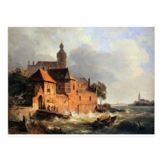 Men in boat at choppy sea by Cornelis Springer Postcard