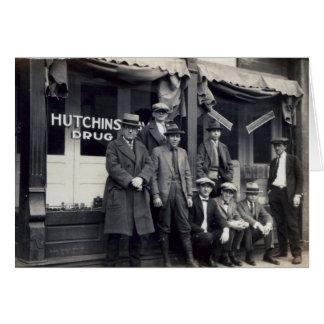 Men in Font of Hutchings-Davis Drug Store Card