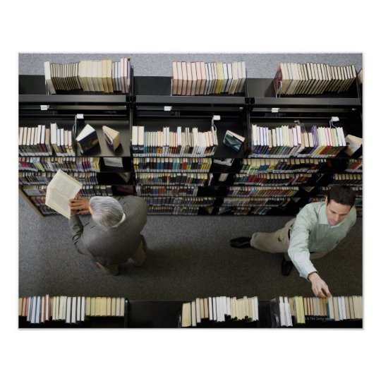 Men in library looking for books poster