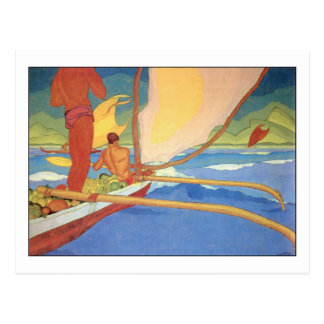 Men in Outrigger Canoe by Arman Manookian Postcard