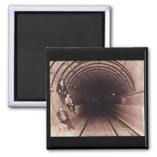 Men in the New York City Subway System Vintage 2 Inch Square Magnet