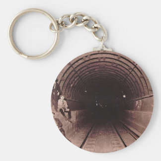 Men in the New York City Subway System Vintage Basic Round Button Keychain