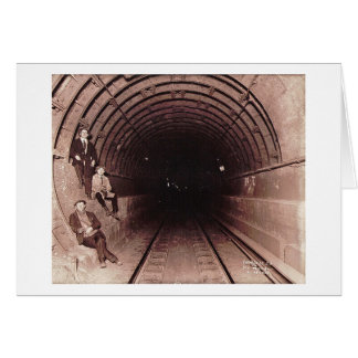 Men in the New York City Subway System Vintage Greeting Card