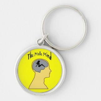 Men!! Silver-Colored Round Keychain