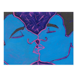 Men Kissing Blue Postcard