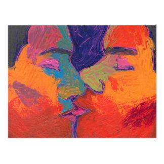 Men Kissing Colorful Postcard
