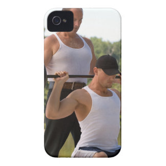 Men lifting barbell iPhone 4 Case-Mate case