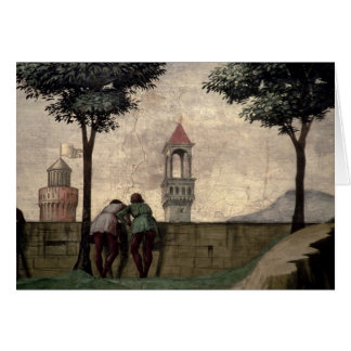 Men Looking over a Wall, from the Visitation (fres Card
