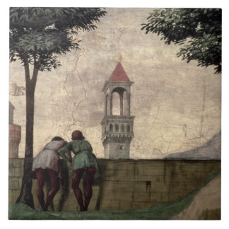 Men Looking over a Wall, from the Visitation (fres Ceramic Tile