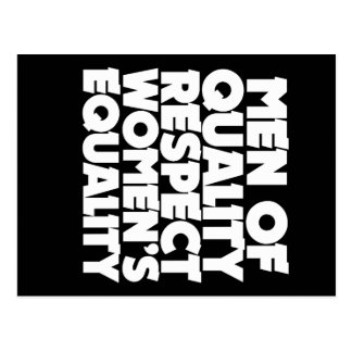Men of quality respect women's equality postcard