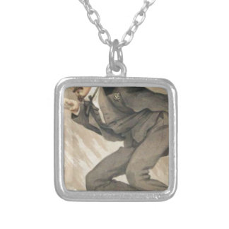 Men of the Day No.4, The mob rule by James Tissot Square Pendant Necklace