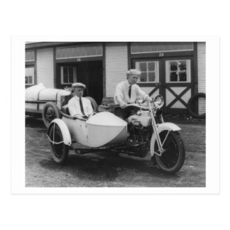 Men on Harley Davidson Motorcycle with Sidecar Postcards