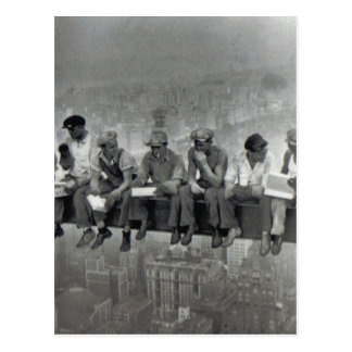 Men on rail vintage photography postcard