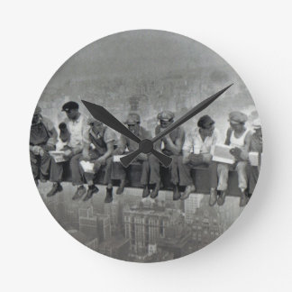 Men on rail vintage photography round clock